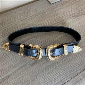 B-low the belt gold double buckle Bri small